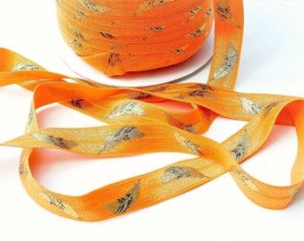 1 meter Orange elastic ribbon, golden feathers, width 16 mm