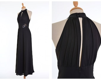 Vintage 1970s black jersey halter top long dress - size S/M