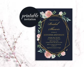 Boho Bridal Shower Invitation Floral Bridal Shower Invitation navy pink Spring summer Bridal Shower Invitation bohemian bridal shower invite