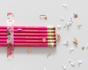 Mean Girls pencil set • movie quotes pencils • so fetch • wednesdays we wear pink • gift idea • stocking stuffers • engraved pencils