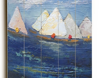 Sailboat painting print on wood plank, Wood wall decor, free shipping, choose your size, ready to hang, no frame required