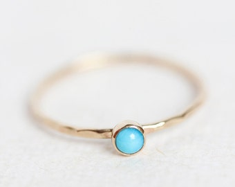 Turquoise gold ring, stackable birthstone ring, 14k gold, December birthstone, mothers ring, something blue, birthstone ring