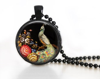 Folk Art Peacock Glass Pendant/Necklace/Keychain/Black Background