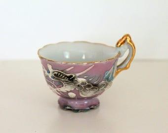 Vintage Ceramic Demitasse Purple Miniature Cup, Dragon Tea Cup, Expresso