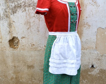 Vintage 1970/70s Tyrol Austria October fest dirndl dress embroidered +  white  apron /size M/L