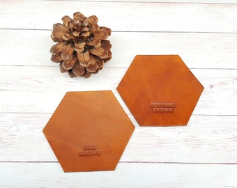 Personalised Hexagon Leather Coasters (Set of 2)