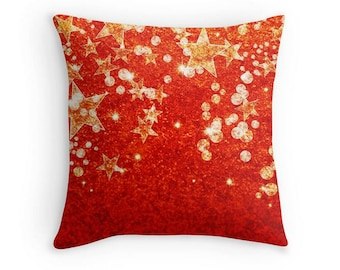 Red and Gold Stars Scatter Cushion, 16x16, Christmas Decor, Throw Pillow  Cushion Cover