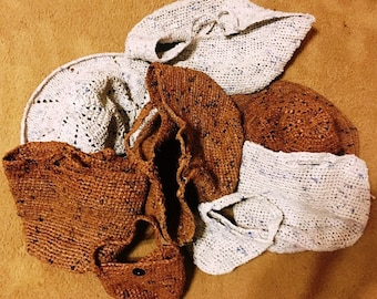 Crocheted recycled plastic tote bags and sun hats