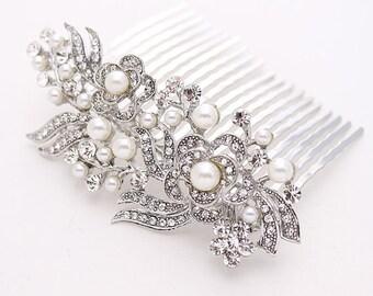 Bridal Hair Comb, Wedding Hair Accessories, Silver Rhinestone Bridal Hair Piece, Pearl Wedding Comb, Bridal Hair Clip, Wedding Headpiece