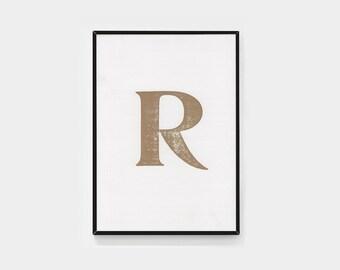 Framed gold letter R (letterpress print)