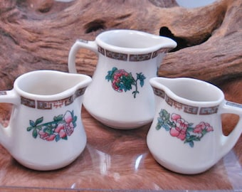Set of  3 Indian Tree Cream Pitchers Pink Flowers