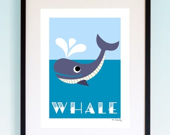 Whale, Wildlife, Poster, Wall Art, Childrens, Nursery Print, Boys and Girls Room Decor, Animal, Playroom, Native, Fauna, Australia.
