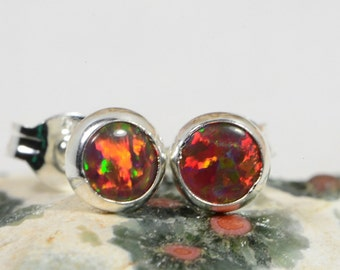Fire Opal Stud Earrings Gemstone Earrings Opal Jewelry