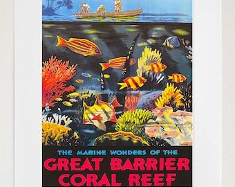 Australia Travel Poster Art Great Barrier Reef Print Retro (TR112)