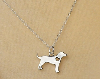 Heart Dog Necklace Sterling Silver I Love Dogs Charm Pendant Cable Chain Pet Retriever Labrador Animal