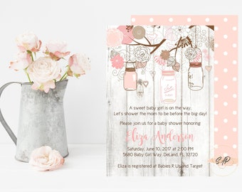 Mason Jar Baby Shower Invitation - Rustic Baby Shower Invitation - Girl Baby Shower - Baby Shower Invitation Girl - Bridal Shower Invitation