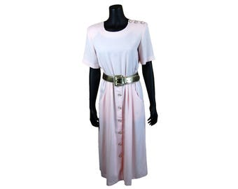 Vintage 1980s Pastel Pale Pink Short Sleeve Maxi Dress with Pockets and Decorative Buttons / Size 8M
