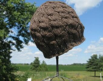 Knit Alpaca Hat, Brown Handknit Wool Hat, Beanie for Men, Teens, or Women