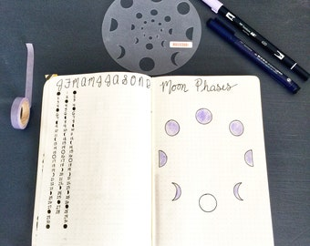 """Moon Phases  Stencil - Bullet Point Journal Stencil, fits Leuchtturm and Moleskine 5"""" by 7"""""""