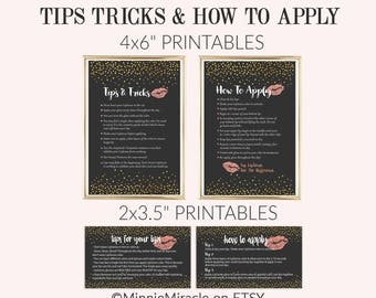 Lipsense Tips and Tricks, LipSense How To Apply, Application Instructions, Senegence, Gold Confetti Chalkboard Black, 3.5x2 and 4x6 DIGITAL