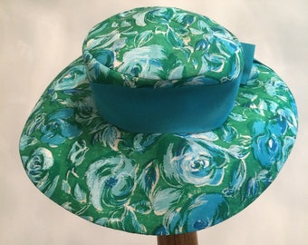 50's turquoise & green flowered ladies hat Designed by Lilly Dache'  DACHETTES