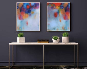 Diptych, set of two, Art for Office, Blue Abstract Painting, Original Art,  Minimalist Modern Art, Tranquil Art Prints, Calming Wall Art,