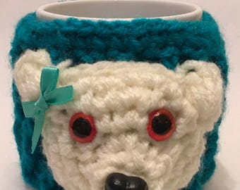 TEDDY hand crochet mug cosy with mug
