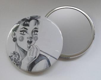 Illustrated Audrey Hepburn Pocket Mirror/ Compact Mirror 76mm