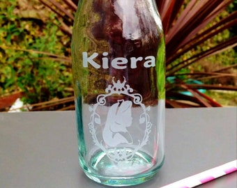 Personalised Engraved Glass Milk Bottle, Alice in Wonderland,  New, Summer, Party