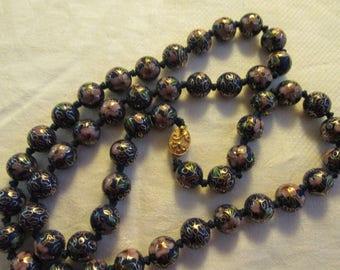 Vintage cloisonné  beaded necklace blue