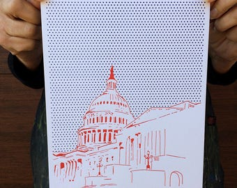 "Washington DC Letterpress Poster | United States Capitol | red & blue 8"" x 10"" poster"