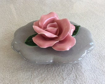 Ceramic Rose Dish, Pretty and Sweet, Mid-Century, in Gray, Pink, and Green
