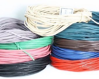 Genuine LEATHER Cord. Rounded and polished.  Loose lengths, Crafts and jewellery