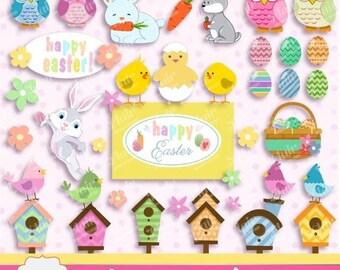 80% OFF HAPPY EASTER Clipart, Easter Bunny, Easter Birds, Easter Eggs, Easter Rabbit, Owls, Birdhouses, Flowers,  Spring Clipart