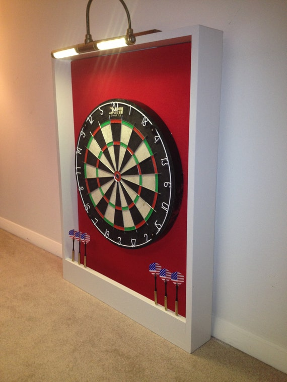 Delightful LED LIGHTED Red U0026 White Trim Dart Board Backboard Surround Dartboard Cabinet    Enhance Your Dart Board And Man Cave!