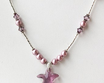 Beach Jewelry- Starfish Necklace- Summer Necklace- Crystal and Pearl Necklace- Pink Swarovski Crystal Necklace- Beach Wedding