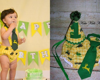 Baby Boy's First Birthday Cake Smash Set, John Deere Tractor, Photo Prop