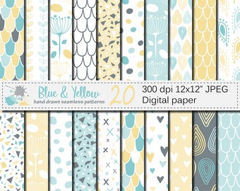 Blue and Yellow Seamless Digital Paper, Pastel Hand Drawn Scales, Hearts, Leaves, Terrazzo Pattern, Digital Scrapbook Papers