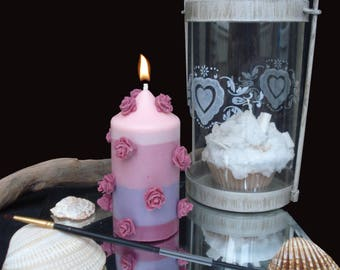 Soy Candle cylinder floral fragrance filled with roses