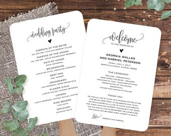 Wedding program template, Wedding program fans template, Editable PDF template, Wedding order of service, Custom rustic wedding fan programs
