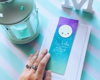 KAWAII GALAXY bookmark with moon that glows in the dark, lettering for book lovers, rainbow unicorn colors, galaxy art