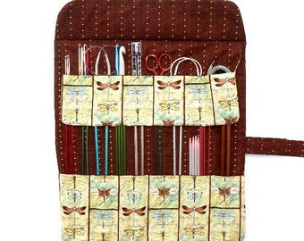 Knitting Needle Case, Knitting Needle Roll Up, Double Pointed Needle DPN Organizer, Dragonfly Print Crochet Hook Storage, Brush Holder