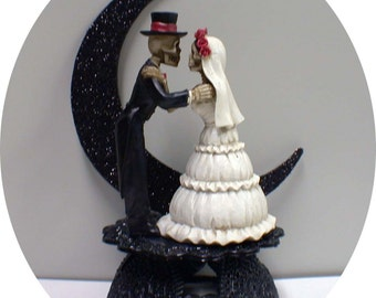 Day of the DEAD Halloween Wedding Cake Topper Funny Skeleton Bride Groom top