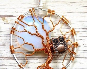 Owl Tree of Life Pendant  Full Moon Opalite Rainbow Moonstone Two Tone Silver Copper Mixed Metals Jewelry Wire Wrapped Necklace Steampunk