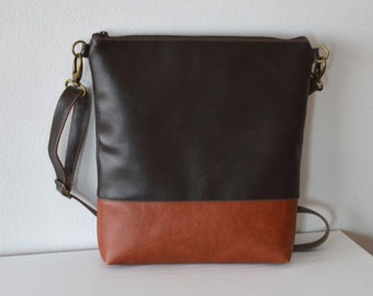 Distressed Faux Leather Purse / Color-Block Crossbody Bag / Shoulder Bag