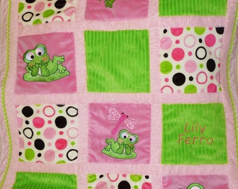 Embroidered Frog Minky Baby Blanket