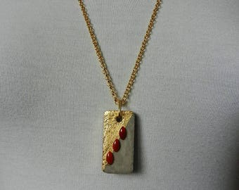 Trendy necklace with concrete and gold foil cabochons valuable semi rectangular pendant