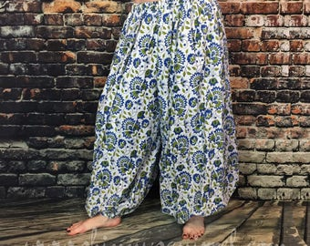 White cotton harem pants with blue and avocado flowers/ belly dance/tribal/renaissance fair/ gypsy/ bohemian