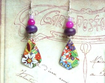 Flower Earrings, Hippie Earrings, Sixties Earrings, Colorful Earrings, Vintage Jewelry, Floral Tin Earrings, Upcycled Jewelry, Women Gift