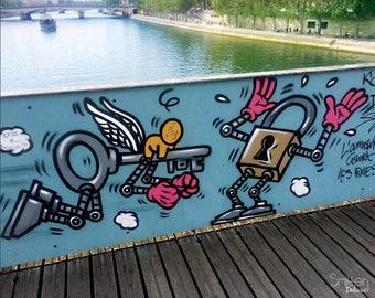 10x8 Photo Download Paris Locks Bridge Art